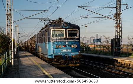Mlcechvosty, Bohemia, Czech Republic - April 20, 2016 - Old electric locomotives at the head of cargo (freight) train.-