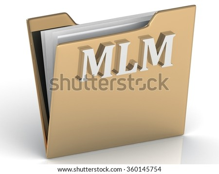 MLM - bright green letters on a gold folder on a white background