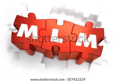 MLM - Multi Level Marketing - White Word on Red Puzzles on White Background. 3D Render.  - stock photo