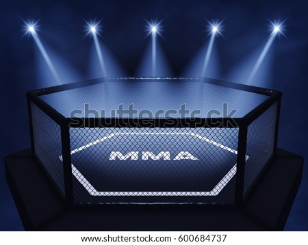 MMA cage lit by spotlights ,  Mixed martial arts fight night event , 3d illustration