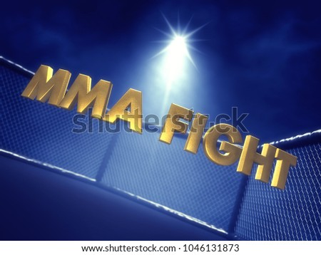 MMA Fight text lit by spotlight , Mixed martial arts cage , 3d illustration