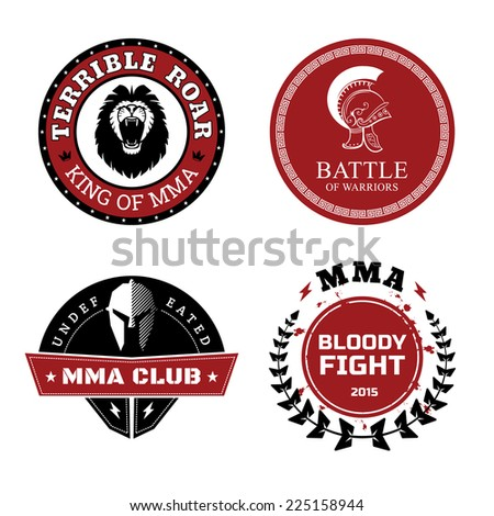 MMA Labels - Mixed Martial Arts Design Isolated on White Background. - stock photo
