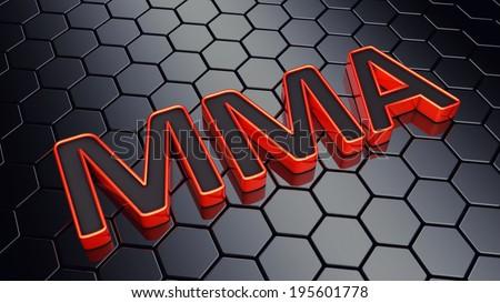 MMA text on dark hexagonal background , Mixed martial arts event - stock photo