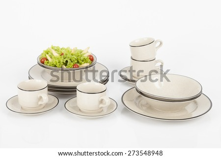 mmodern dishes with black line on white background - stock photo
