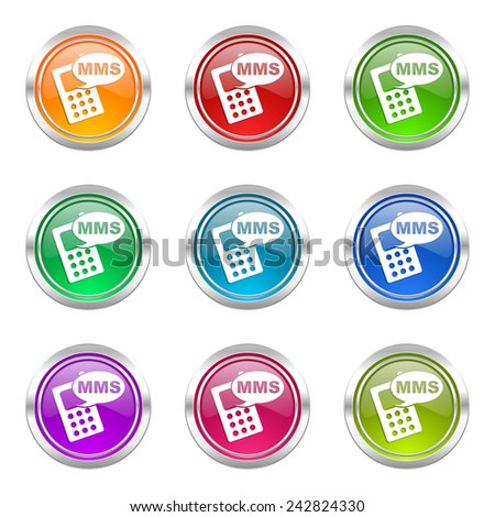 mms icons set phone sign  - stock photo
