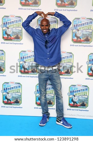 Mo Farah arriving for Thomas & Friends Blue Mountain Mystery premiere held at the Vue cinema, London. 01/09/2012 Picture by: Henry Harris - stock photo