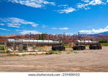 Moab,Utah-USA: July 18, 2013:Old petrol station in Moab.Moab is small city near the main entrance to the famous Arches National Park, Moab,Utah,USA - stock photo