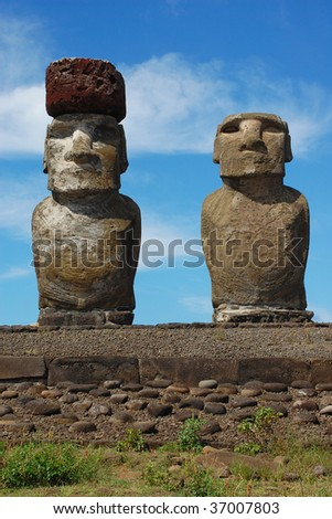 Moai at Ahu Tongariki, Easter Island, Chile - stock photo