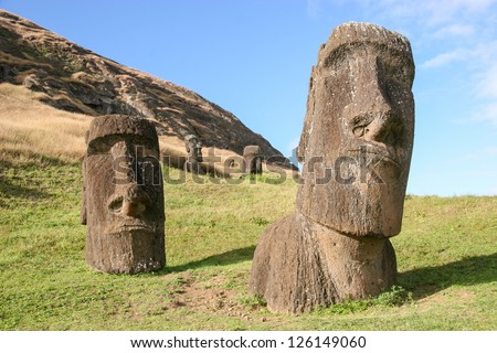 Moai at Rano Raraku quarry on Easter Island - stock photo
