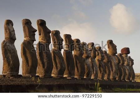 Moai at sunrise - stock photo