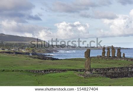 Moai of Easter Island at Tahai - stock photo