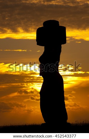 Moai of Easter Island, sunset