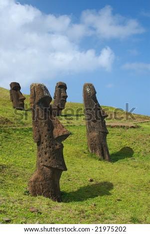 Moai on Easter Island - stock photo
