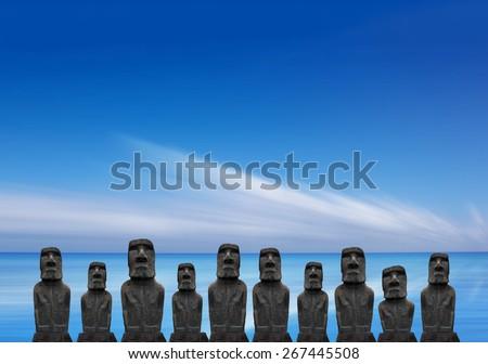 Moai on Easter Island, Chile - stock photo
