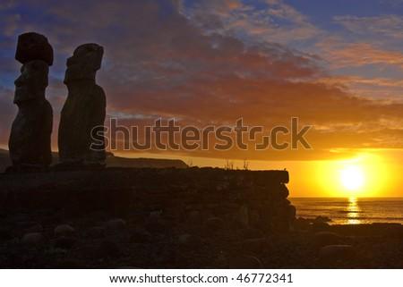 Moai statues, Easter Island, Chile - stock photo