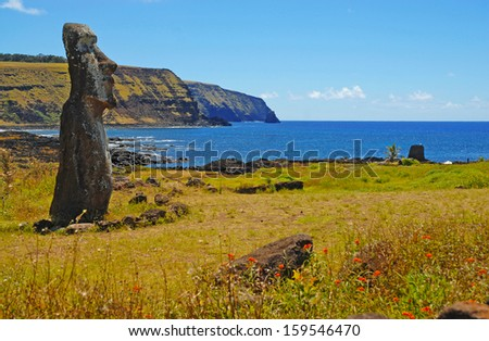 Moai Stone Statues at Rapa Nui - Easter Island, Polynesia, Chile - stock photo
