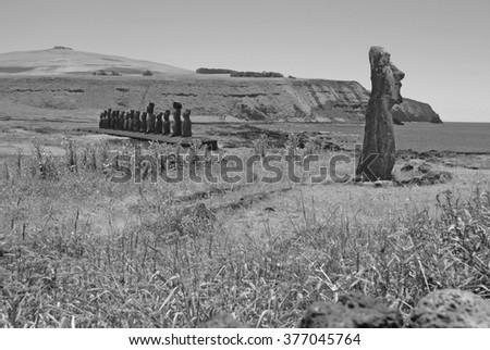 Moai Stone Statues at Rapa Nui - Easter Island, Polynesia, Chile - stock photo