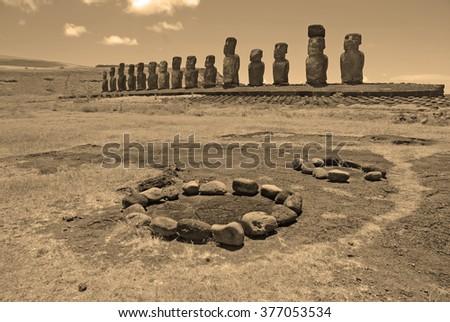 Moai Stone Statues at Rapa Nui - Easter Island, Polynesia, Chile, sepia toning - stock photo
