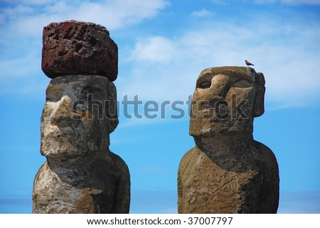 Moai with Bird at Ahu Tongariki, Easter Island, Chile - stock photo