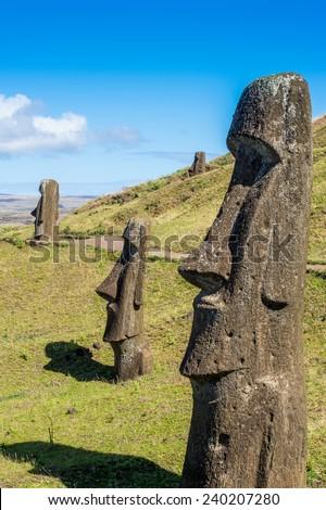 Moaia at Rapa Nui, Easter Island, Easter Island (Isla de Pascua), CHile. Unesco World Heritage - stock photo