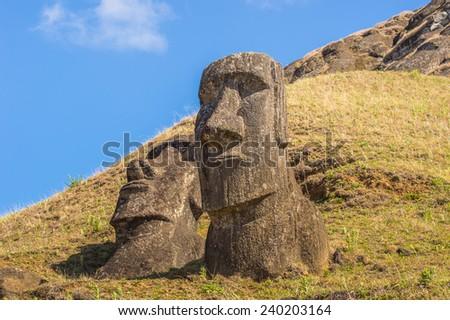 Moaia at Rapa Nui National Park, Easter Island (Isla de Pascua), CHile. Unesco World Heritage - stock photo