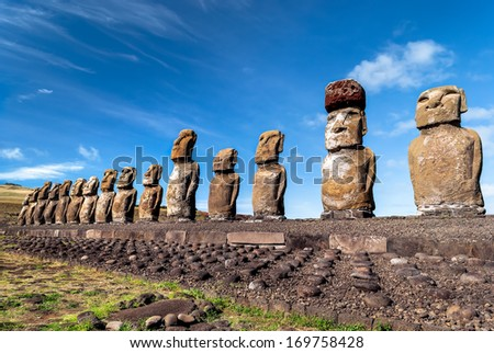 Moais at Ahu Tongariki, Easter Island (Rapa Nui), Chile. - stock photo