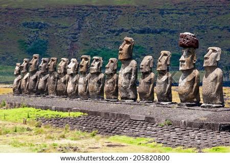Moais in Ahu Tongariki, Easter island (Chile) - stock photo