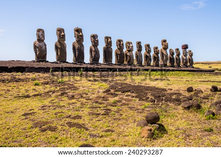 Moais in Ahu Tongariki, Easter island, Chile. UNESCO World Heritge