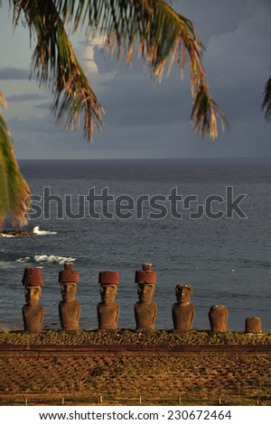 Moais in Easter Island, Chile - stock photo
