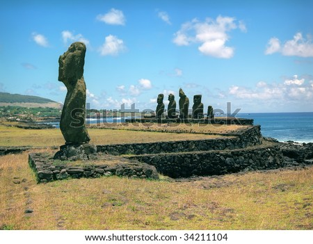 Moais of Ahu Akivi inland Ahu on the UNESCO World Heritage of Easter Island Chile - stock photo