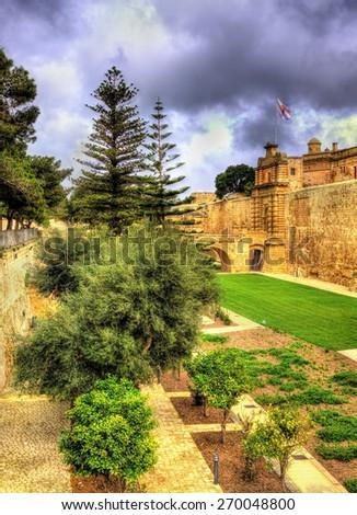 Moat of ancient Mdina city - Malta - stock photo