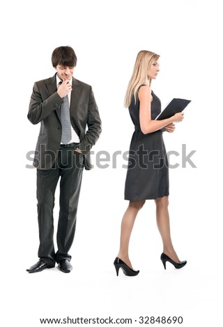 Mobbing try in office - stock photo