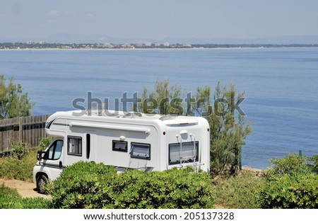 Mobil home at a camping near the sea  - stock photo