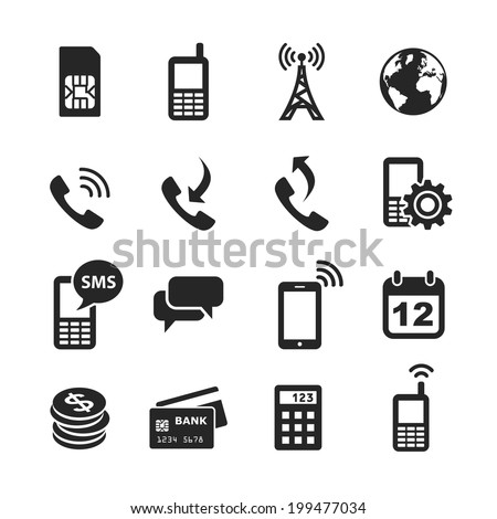 Mobile account management icons. Simplus series. Raster illustration - stock photo