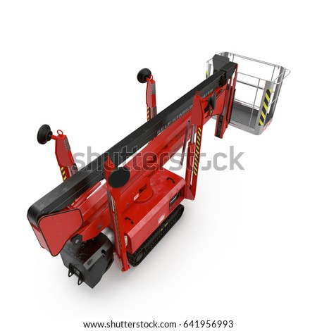 Mobile aerial work platform - Red scissor hydraulic self propelled lift on a white. 3D illustration