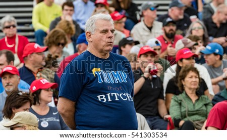 "Mobile, Alabama - 12/17/2016:  Trump supporter waiting for US President-Elect Donald J. Trump to take the stage during his ""Thank You Tour"" at Ladd-Peebles Stadium."