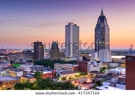 Mobile, Alabama, USA downtown skyline. - stock photo