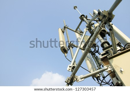 mobile antenna tower and blue sky.