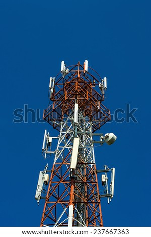 mobile antenna tower on blue sky
