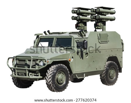 mobile anti-missile system in an armored car isolated on white background. Russia - stock photo