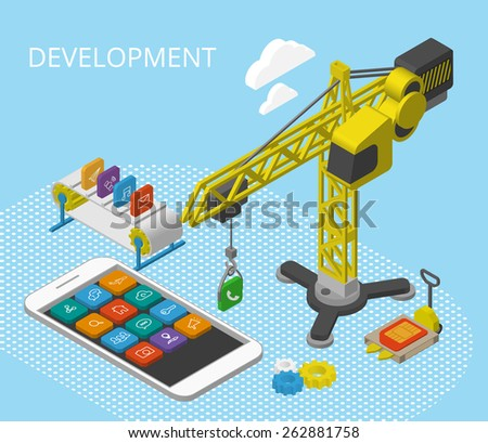 Mobile app development isometric illustration with smartphine, icons, crane and conveyor - stock photo