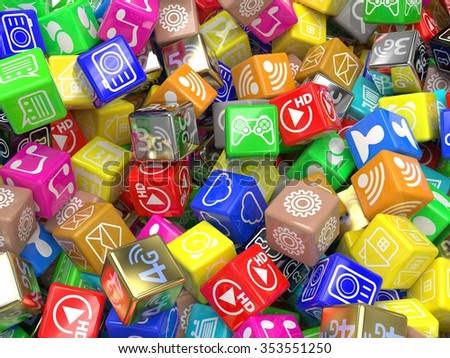 mobile app icons background. 3d - stock photo