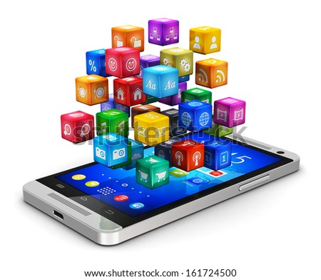 Mobile applications, business software and social media networking service technology business concept: modern black touchscreen smartphone with cloud of color app icons isolated on white background - stock photo