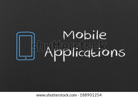 Mobile Applications Concept Drawing on a Blackboard - stock photo