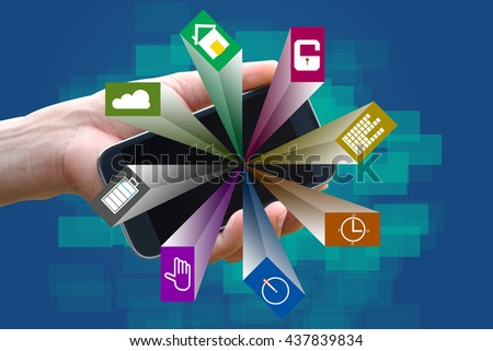 Mobile apps. - stock photo