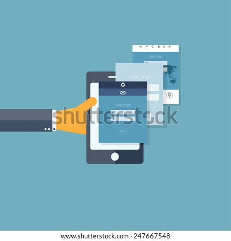 Mobile apps. Programming and coding. Flat ui. - stock photo