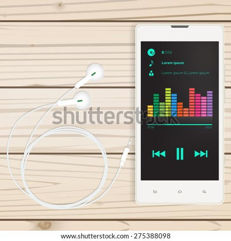 Mobile audio app, mobile on a wooden table, for business - stock photo