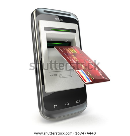 Mobile banking. Mobile phone as atm and credit card. 3d - stock photo