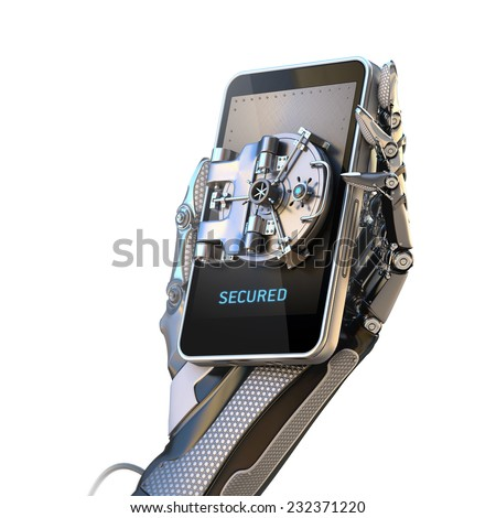 Mobile banking security design concept isolated on white. Smartphone with door of safe holding with robot hand - stock photo