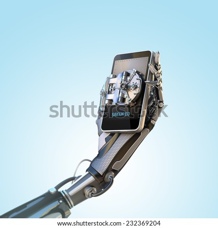 Mobile banking security design concept. Smartphone with door of safe holding with robot hand - stock photo